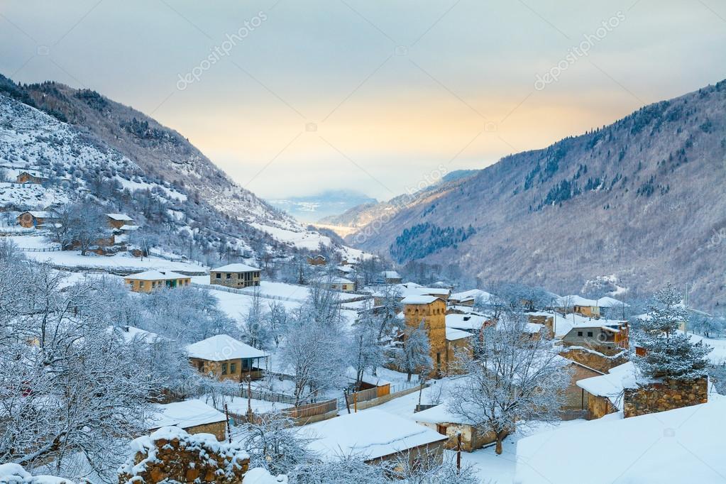 Dawn in the snow mountain village, Svaneti