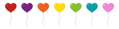 Heart balloons multicolored icons set. Vector illustration isolated on white background. icon