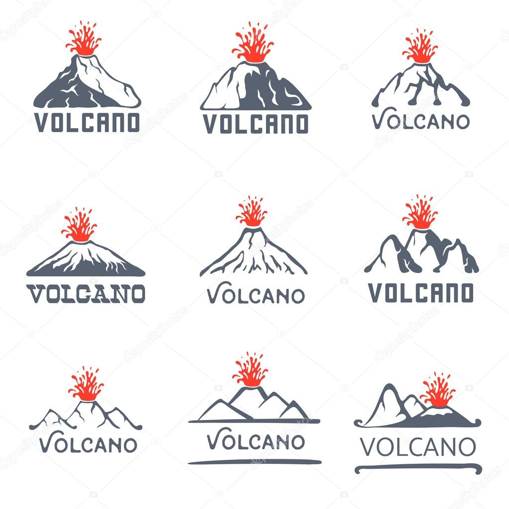 Volcano eruption logo set, vector icons illustration on white background