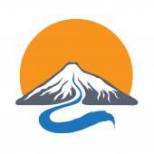 Horské řeky a slunce, ilustrace vektorové logo