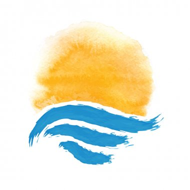 sun and the sea. Vector icon illustration