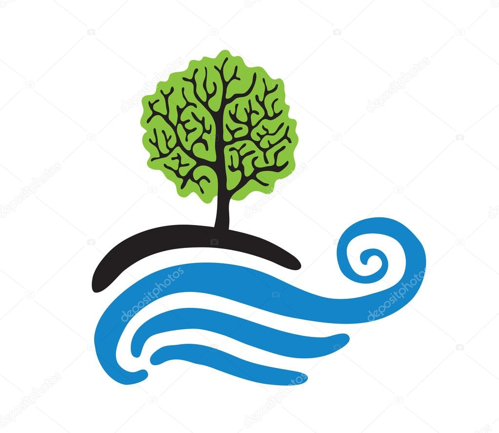 Tree near the water, vector logo
