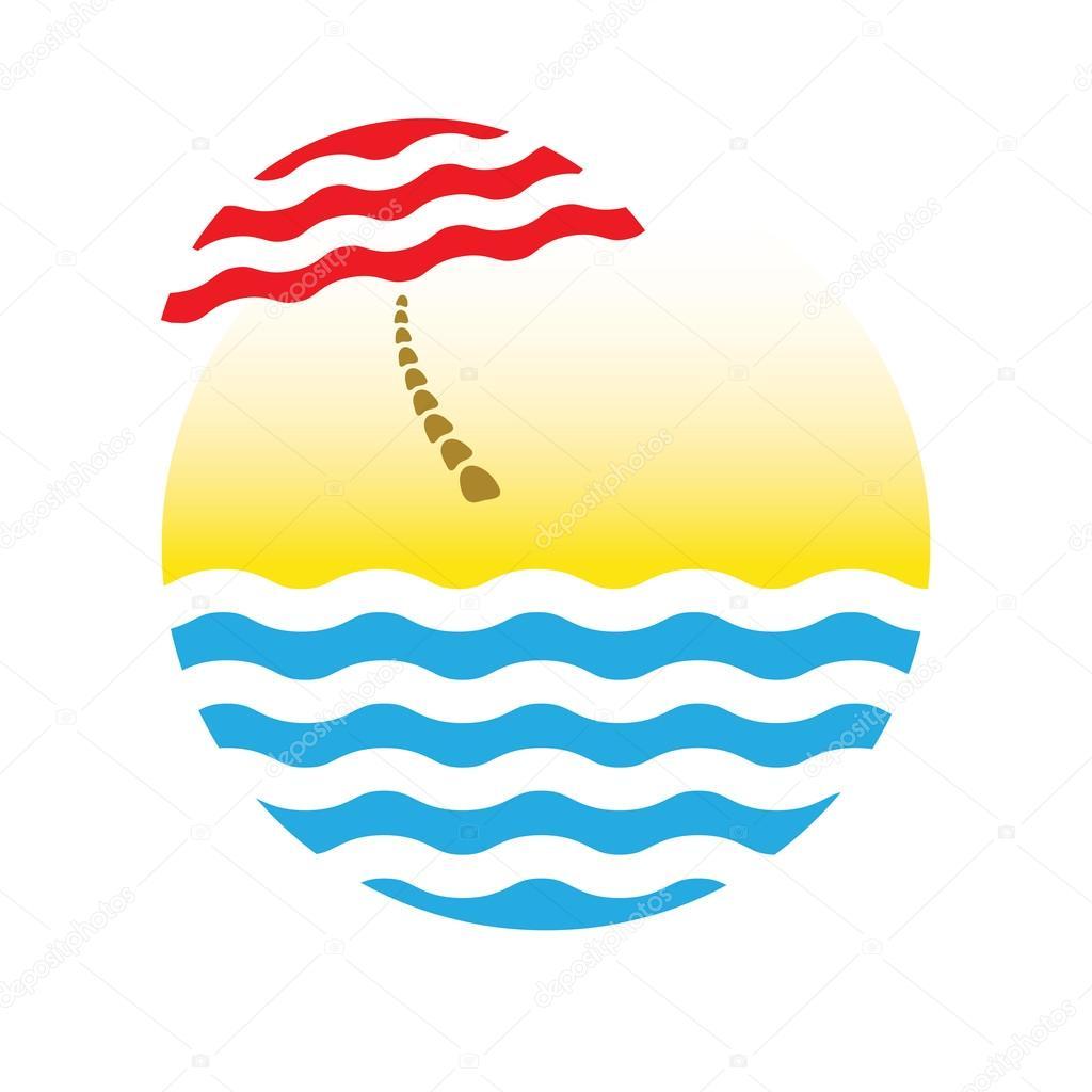 beach umbrella and sea, tourism logo