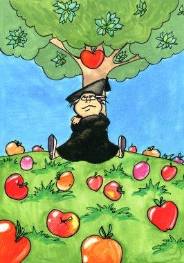 Isaac Newton sitting under an Apple tree