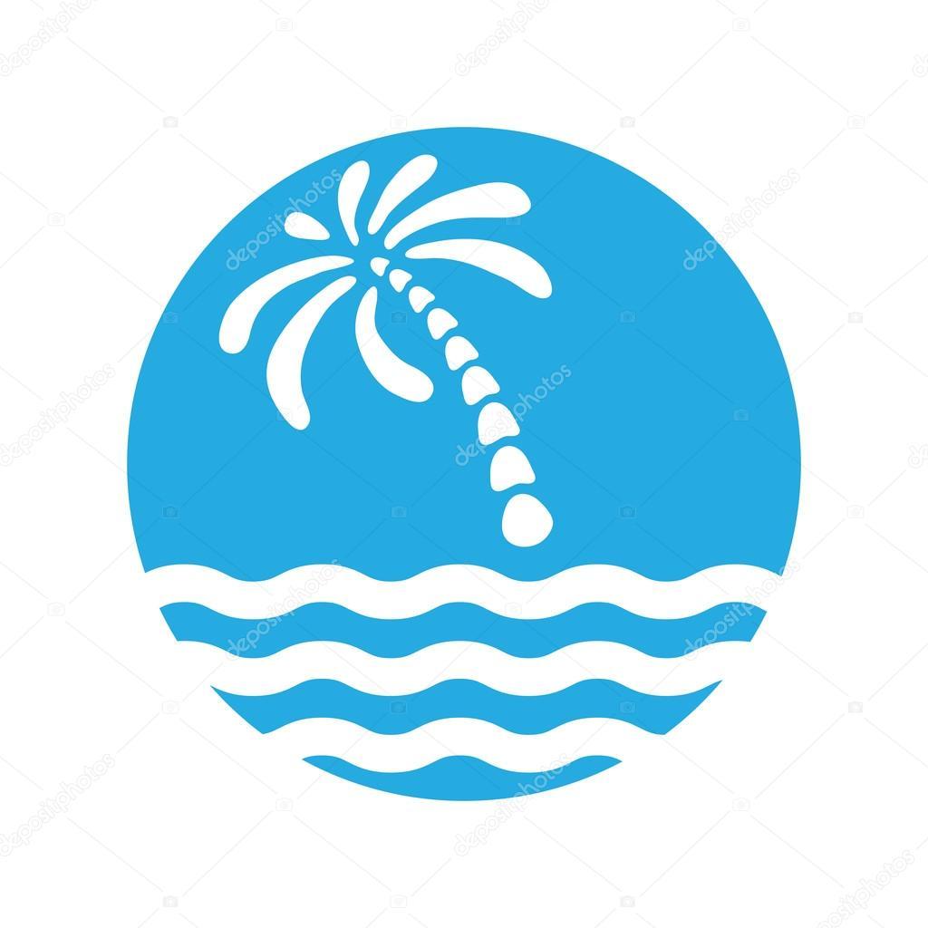 Tropical palm on island with sea. Logo