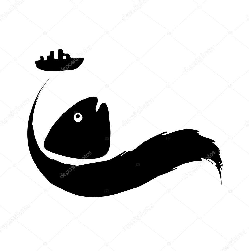 fish in oil slick, water pollution concept