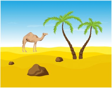 Camel and palms in the Desert, oasis