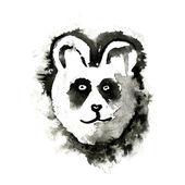 Fotografie Panda, malte Tinte isoliert auf weißem Hintergrund