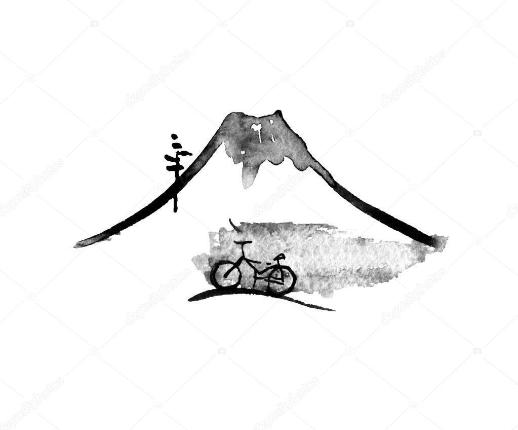 Mountain Fuji and bike, japanese art