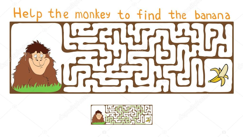 laberinto de Vector, laberinto con mono y plátano — Archivo Imágenes ...