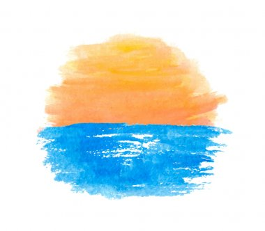 Sunrise over the water, vector