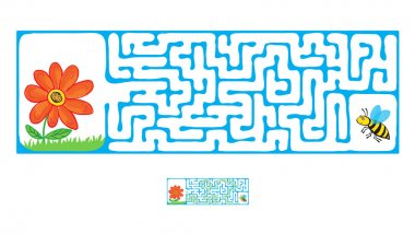 Vector Maze, Labyrinth with Flying Bee and flower