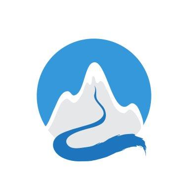 Mountain and river, vector logo