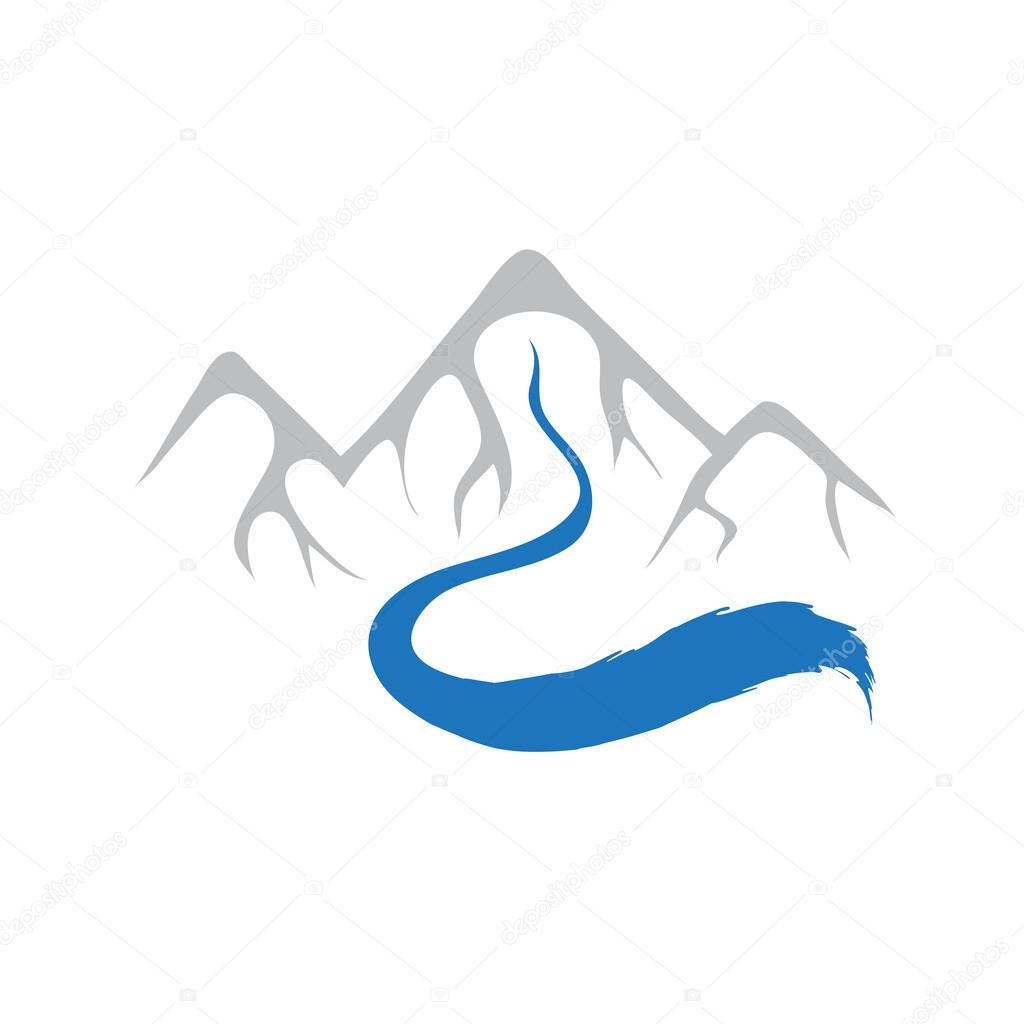 Mountain and river, vector logo