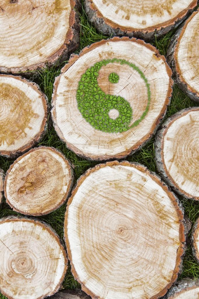 Tree stumps on the grass with ying yang symbol.