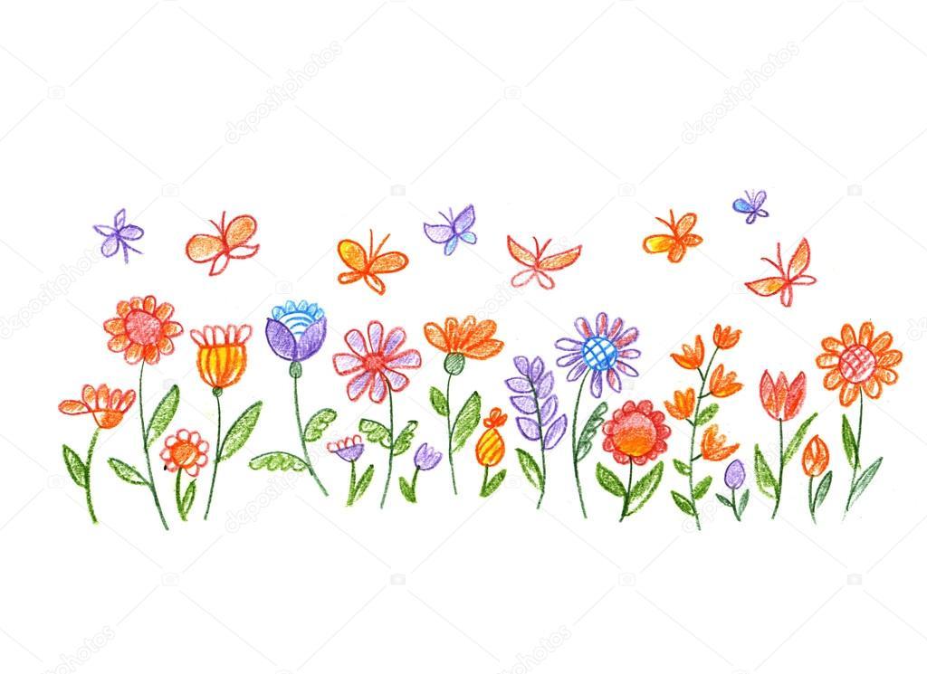 クレヨン カラー手花の描き下ろしイラスト ストック写真 Galyna
