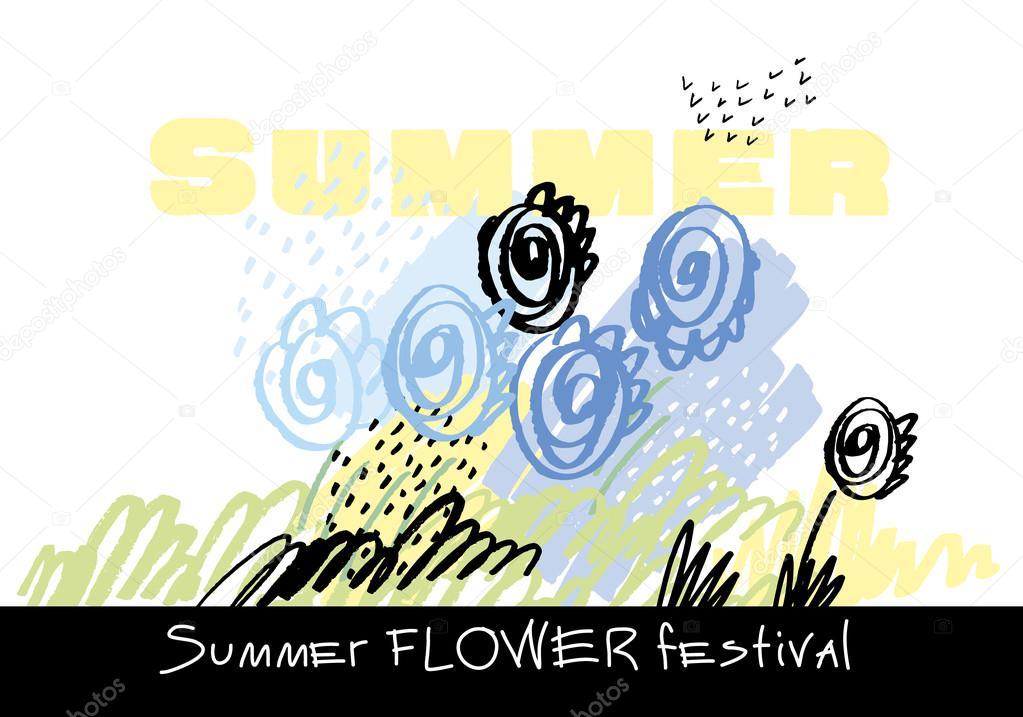 Modern Tarzı Boya Fırça Soyut çiçek şablon El Vektör çizim Yaz