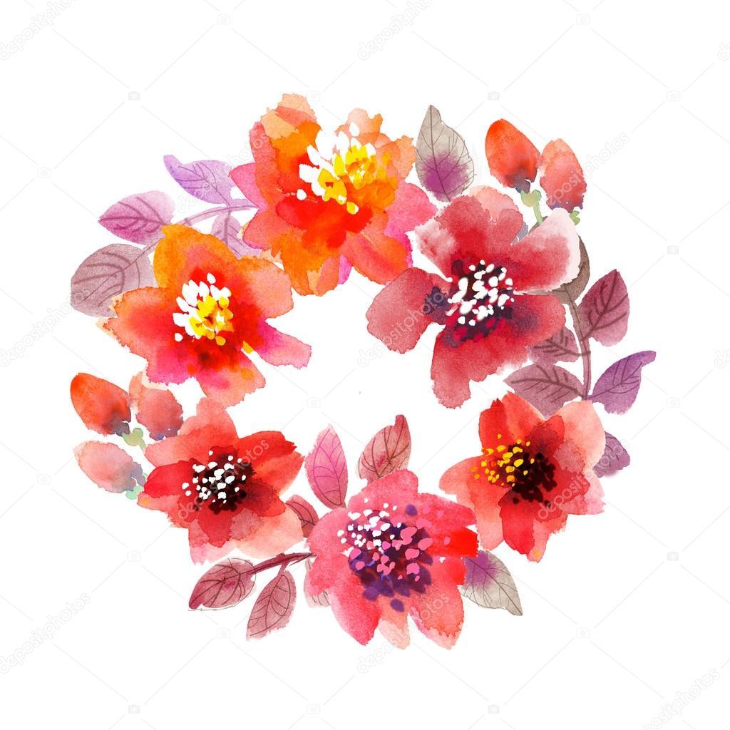 guirnalda de acuarela de la flor. Marco Flores dibujadas a mano con ...