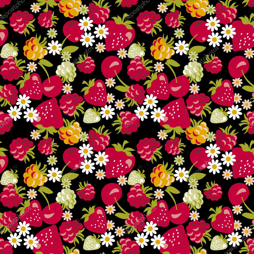 seamless fabric sample with berries on black  background. vector