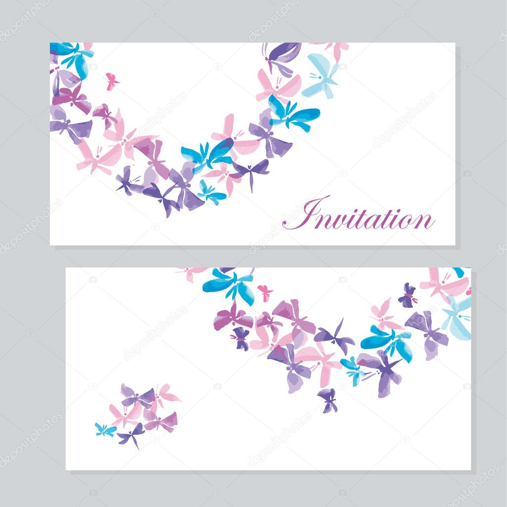 watercolor butterfly invitation template for wedding. hand draw ...