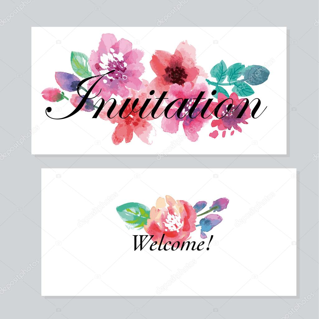 Watercolor Floral Invitation Template For Wedding Hand Drawn T