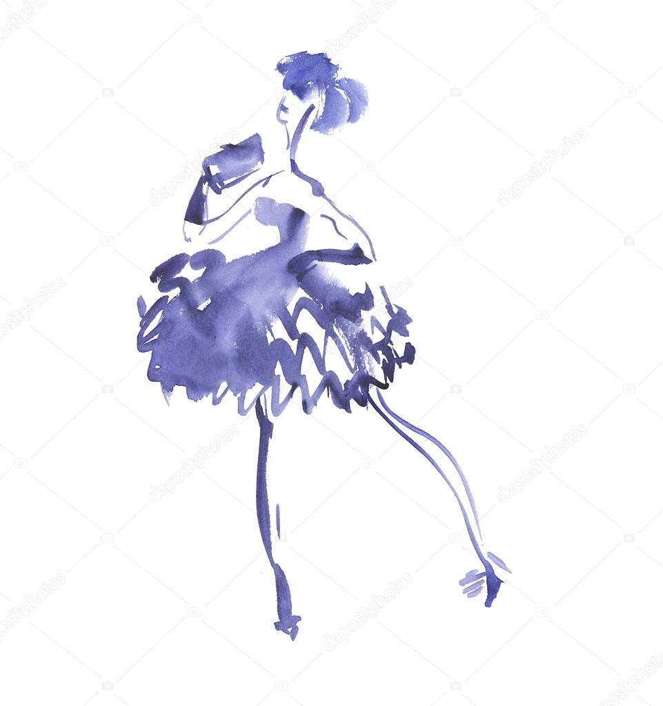 Nacht Party Kleid Abbildung. Mode-Skizze der elegante Frau ...