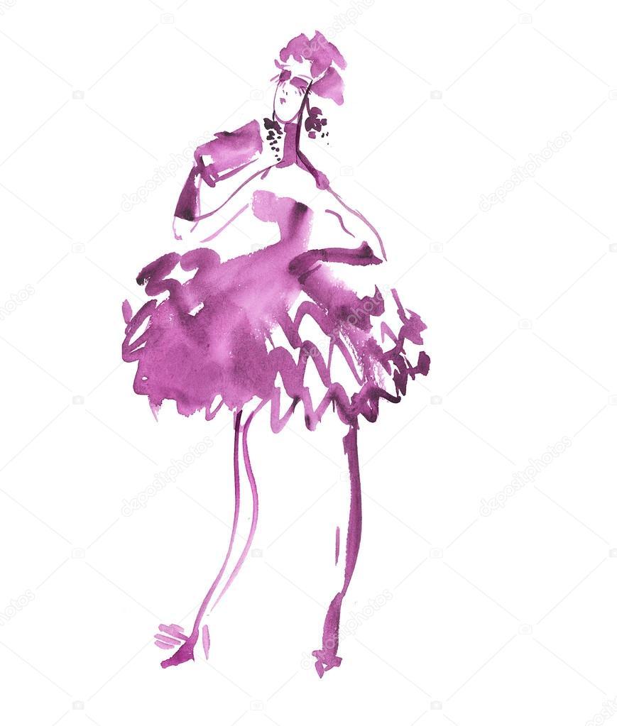 Ilustración de vestido de fiesta de noche. bosquejo de moda de mujer ...