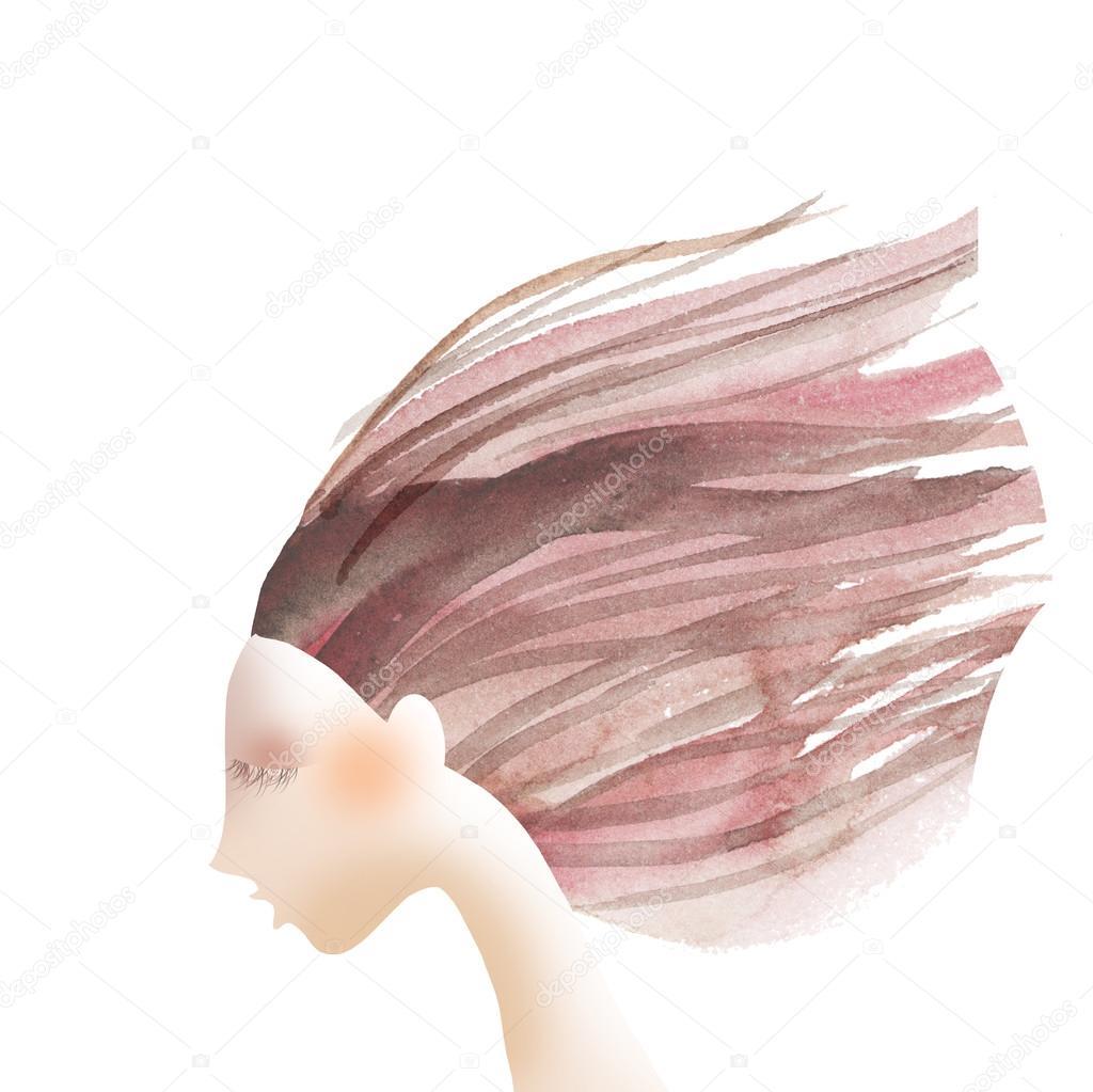 Saç Boyama Kavramı Soyut Illüstrasyon Suluboya Resim Stok Foto