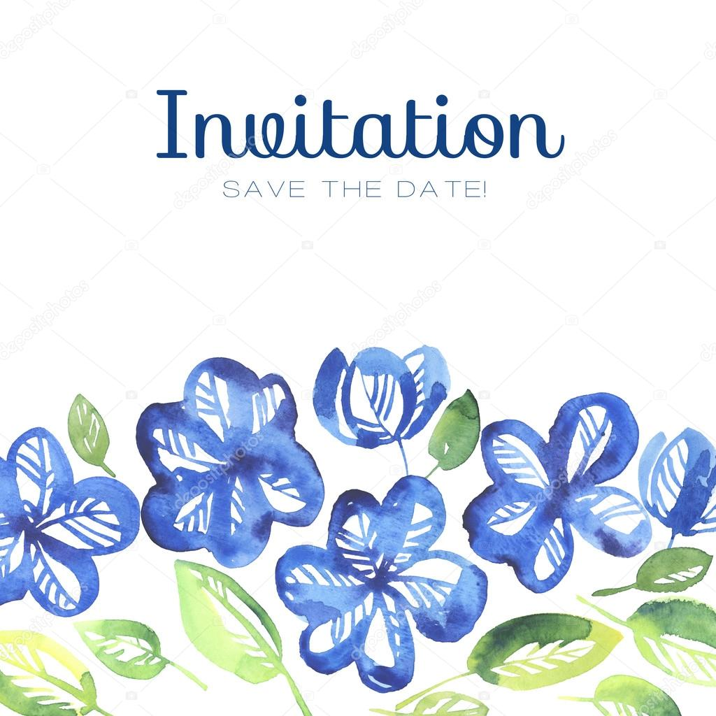 Abstract Blue Color Floral Invitation Template Watercolor Hand