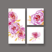 pastel elegant rosy floral on white background. card template. w