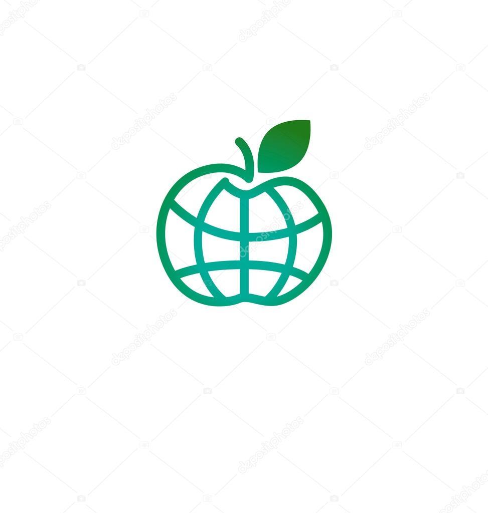 Green Apple In Earth Shape Icon Globe Symbol As Apple Fruit Pl