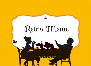 retro style eating people silhouette. vintage restaurant guest h