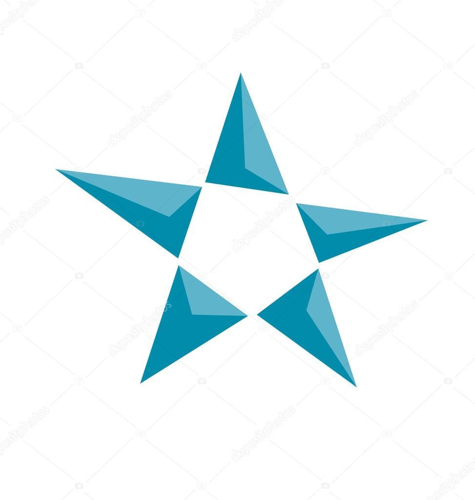 Concept Perspective Blue Star Icon Geometry Luxury Symbol Vecto