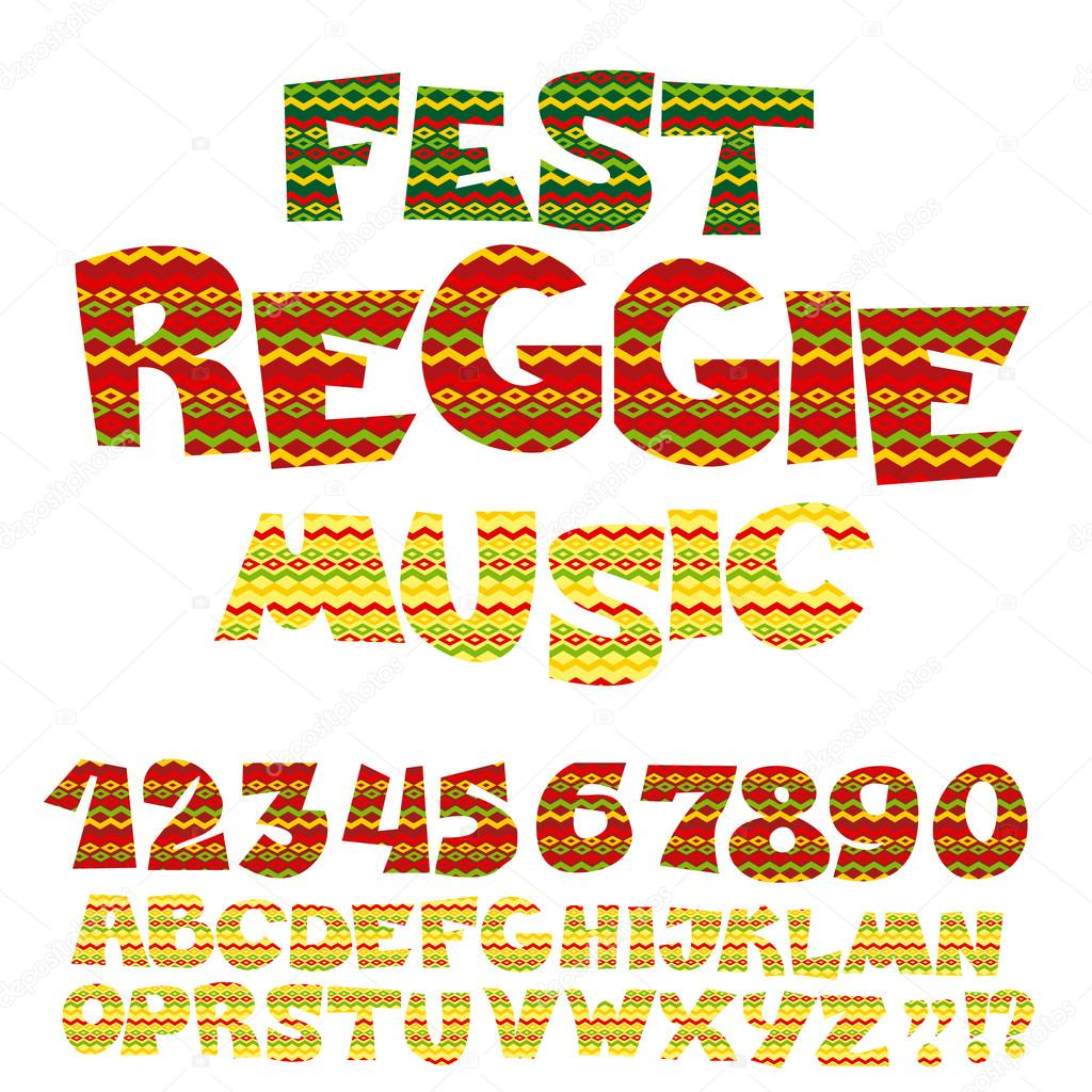 reggae music color font jamaica style abc letters with tribal t