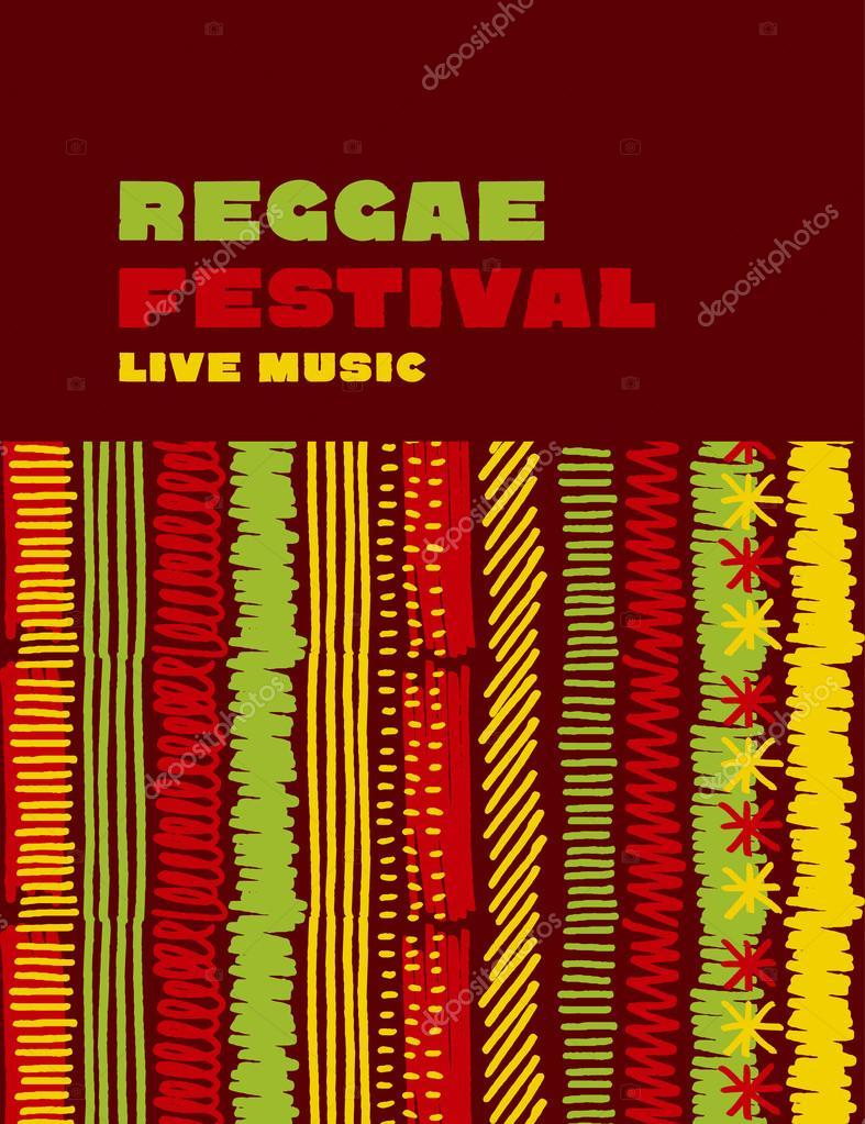 Reggae Music Classic Color Background Jamaica Poster Vector Ill
