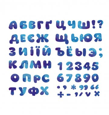 Cyrillic alphabet in water blue color. kid font element set. chi
