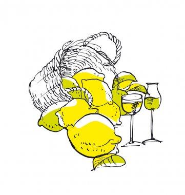 Italian traditional limoncello. shabby concept lemon liqueur ima