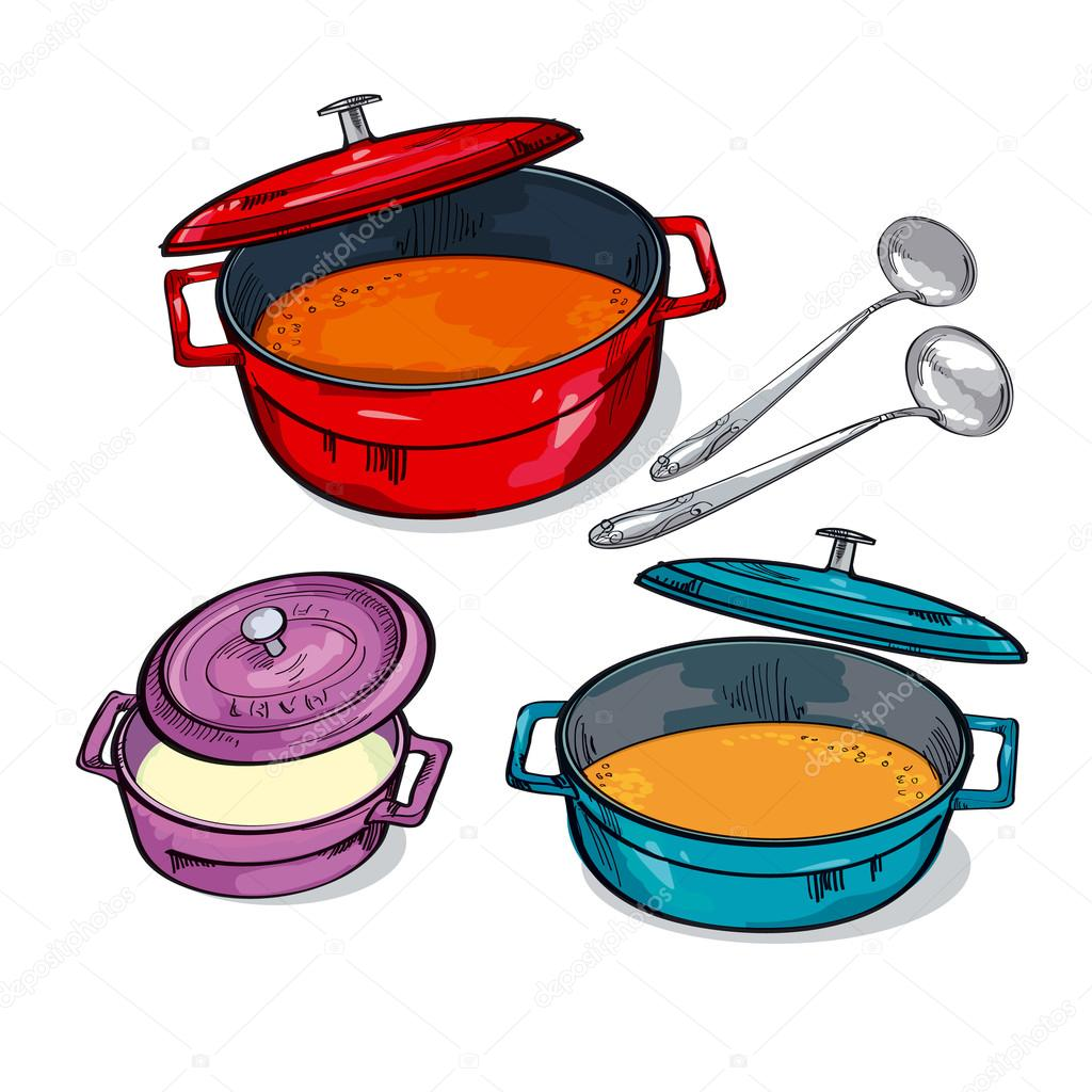 Colorful Soup Pan Assorted Sketch Vector Illustration Stock