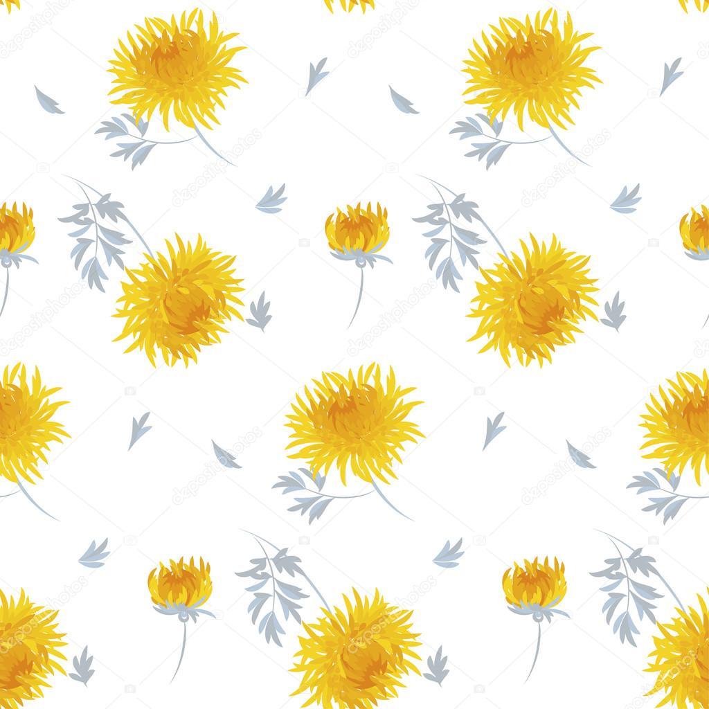 秋の花のシームレスなパターン黄色い菊繰り返し Mo ストックベクター