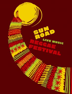 reggae music classic color concept poster. Jamaica style vector