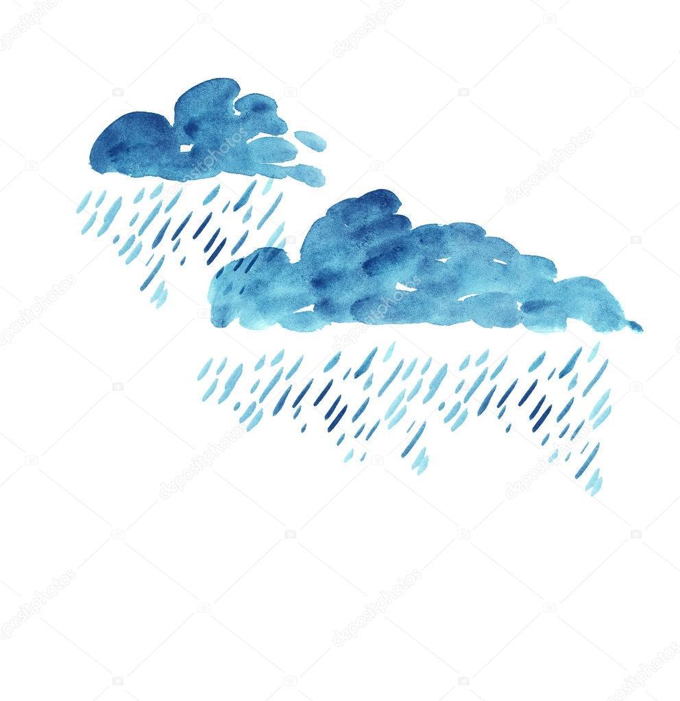 regen Wolke Aquarell. Hand gezeichnet Farbe regen — Stockfoto ...