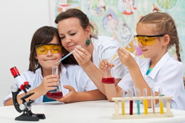 Chemical experiments in elementary school