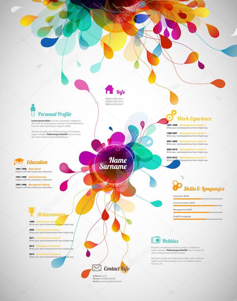 Kreative, Farbe reichen Cv / Lebenslauf Vorlage — Stockvektor ...