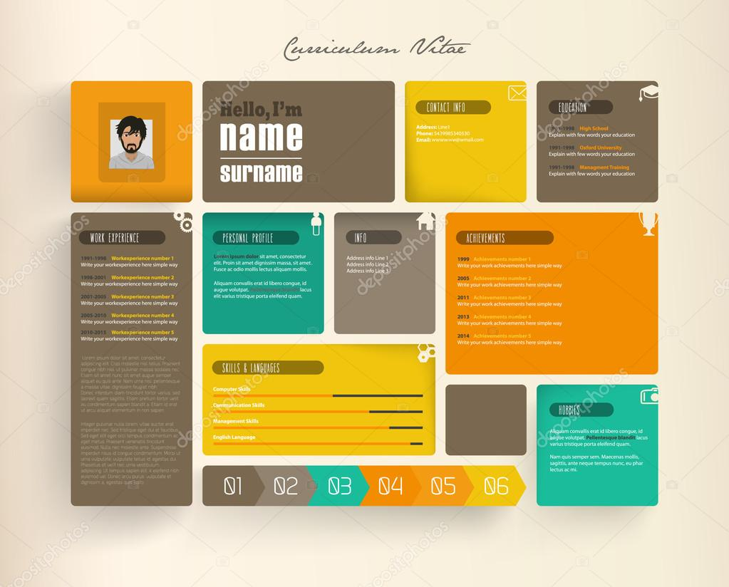 Plantilla de curriculum vitae creativa con azulejos — Vector de ...
