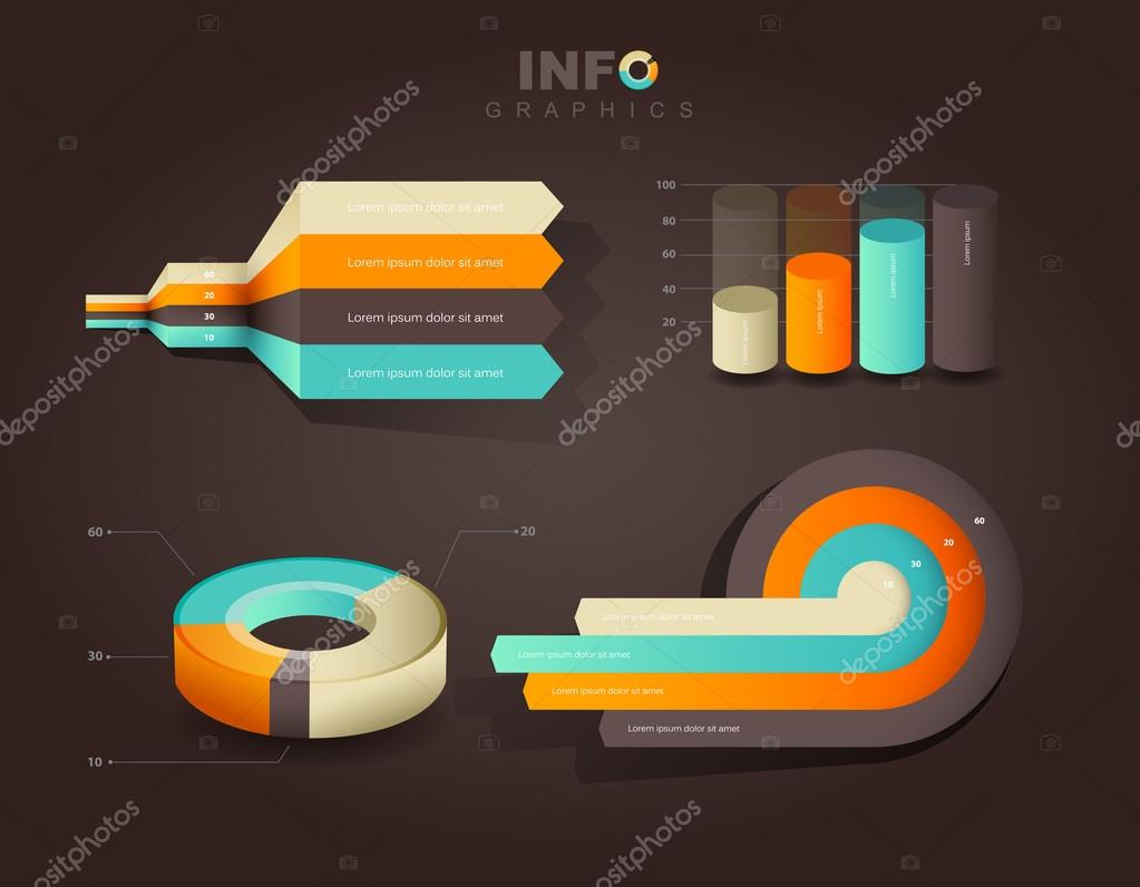 Set of vector flat design infographics statistics charts and gra