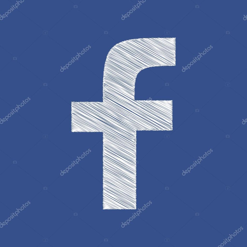 Hand draw Square Windows 10 Style Blue Facebook Web Icon