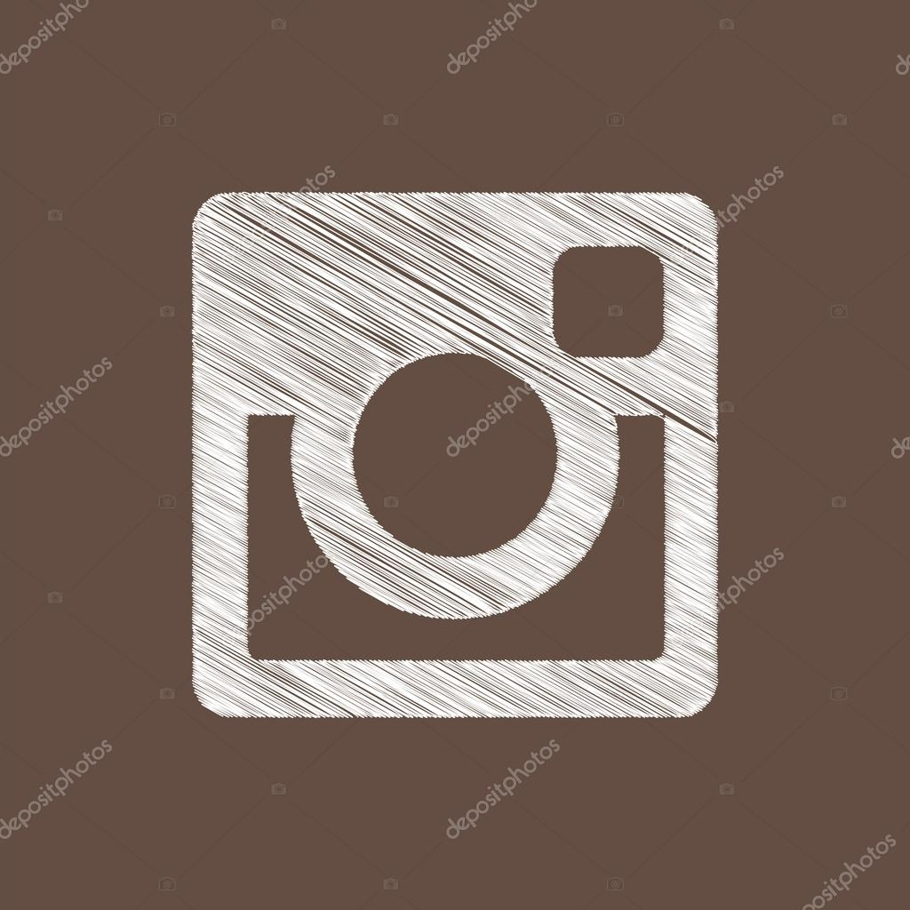 Hand draw Square Windows 10 Style Brown Instagram Web Icon