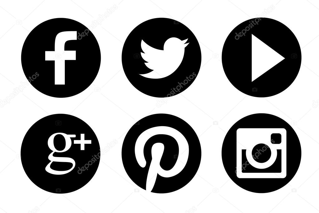 Black and white set of most popular social icon