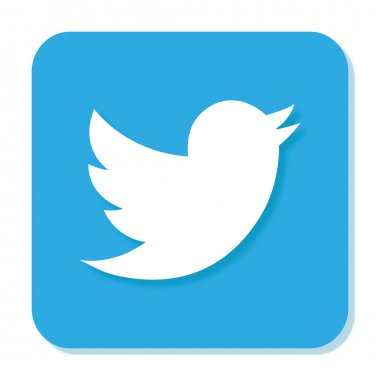 Blue Twitter icon with smooth blur and shadow