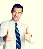 Fotografia businessman showing thumbs up hand sign gesture